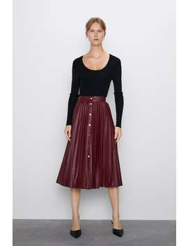 Pleated Buttoned Skirt New Inwoman by Zara