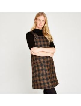 Brown Plaid Pinafore Dress by Apricot