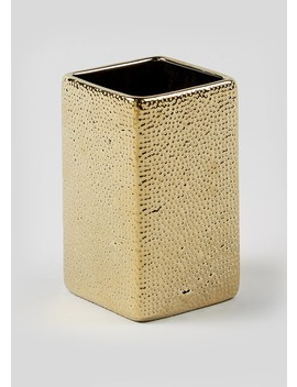 Hammered Gold Toothbrush Holder by Matalan