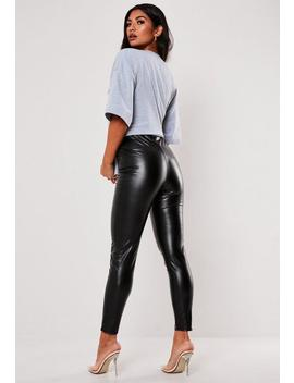 Black Faux Leather Pin Tuck Leggings by Missguided
