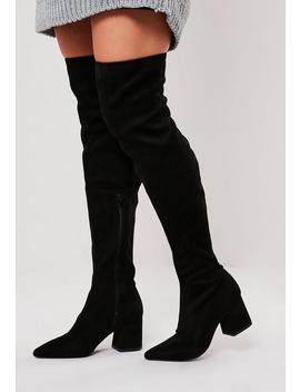 Black Mid Heel Faux Suede Over The Knee Boots by Missguided
