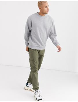Asos Design – Kalkgraues Oversize Sweatshirt Mit Goldenen Reißverschlüssen An Der Schulter by Asos