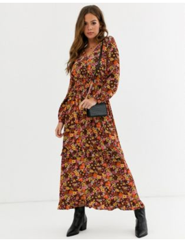 Nobody's Child Tiered Maxi Tea Dress In Retro Floral Print by Nobody's Child