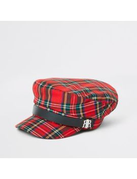 Red Check Baker Boy Hat by River Island