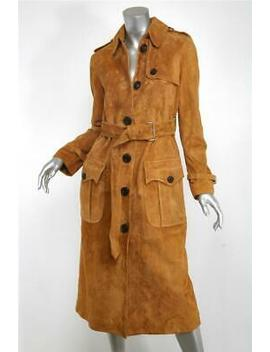 Coach Womens Camel Brown Western Suede Trench Long Coat Jacket 2 New $1590 by Coach