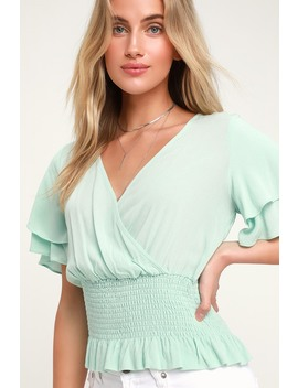 Camelia Mint Green Smocked Surplice Top by Lulus