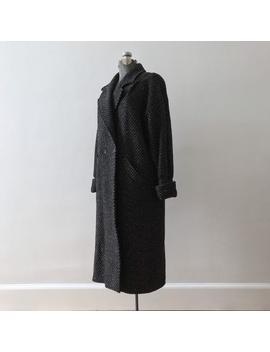 80s Tweed Wool Maxi Coat // Cpi New Wave Winter Trench by Etsy
