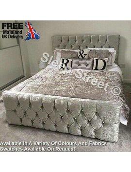 <Span><Span>Luxury Crushed Velvet Fabric Upholstered Florida Bed Frame Single/Double</Span></Span> by Ebay Seller