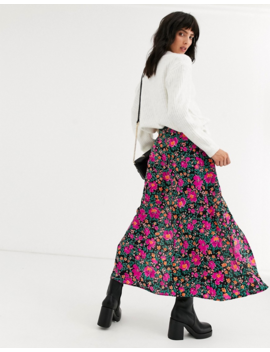 Topshop Midi Skirt With Pockets In Floral Print by Topshop