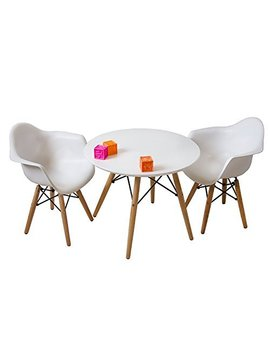 Buschman Set Of White Eames Style Kids Dining Room Mid Century Wooden Legs Table And Two Chairs, Armchairs by Buschman