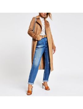 Beige Suedette Blocked Check Trench Coat by River Island