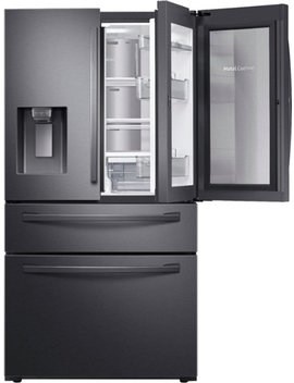 27.8 Cu. Ft. 4 Door French Door Refrigerator With Food Showcase   Fingerprint Resistant Black Stainless Steel by Samsung