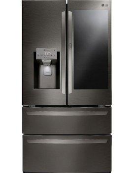 Insta View Door In Door 27.8 Cu. Ft. 4 Door French Door Refrigerator   Print Proof Black Stainless Steel by Lg