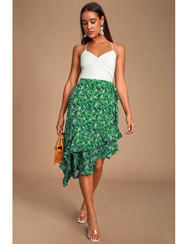 Cararra Green Floral Print Ruffled Asymmetrical Midi Skirt by Lulus