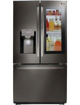 21.9 Cu. Ft. French Door In Door Counter Depth Refrigerator   Print Proof Black Stainless Steel by Lg