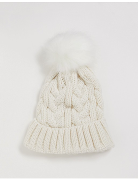 New Look Cable Knit Faux Fur Bobble Hat In Cream by New Look