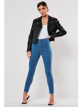 Petite Blue Outlaw High Waisted Jeggings by Missguided