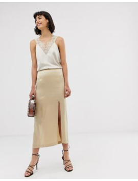 &Amp; Other Stories Satin Side Split Skirt In Light Beige by & Other Stories