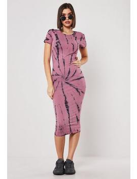 Pink Tie Dye Bodycon Midi Dress by Missguided