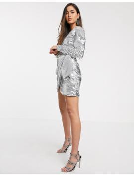Skylar Rose Wrap Front Mini Dress In Sleek Sequin by Skylar Rose