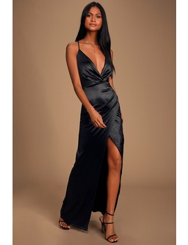 Ever Enchanted Black Satin Surplice Maxi Dress by Lulus