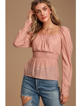 Songbird Mauve Pink Striped Long Puff Sleeve Top by Lulus