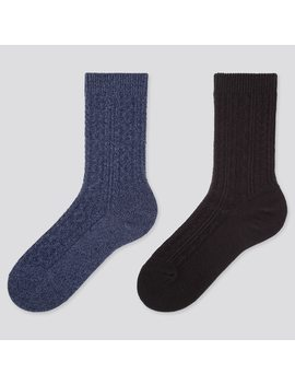 Women Heattech Cable Knit Socks (Two Pairs) by Uniqlo