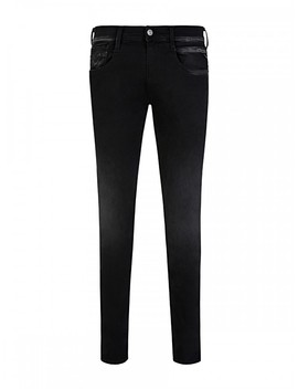 Replay Black Hyperflex Anbass Slim Fit Jeans by Replay
