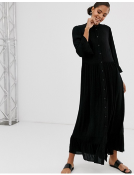Asos Design Tall Button Through Tiered Smock Maxi Dress In Crinkle by Asos Design