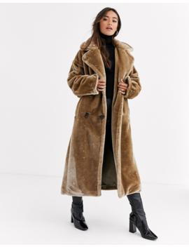 Asos Design   Manteau Long En Fausse Fourrure Pelucheuse Avec Coutures Apparentes by Asos Design