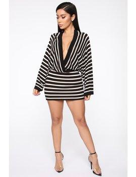 Got Away With You Mini Dress   Black/Taupe by Fashion Nova
