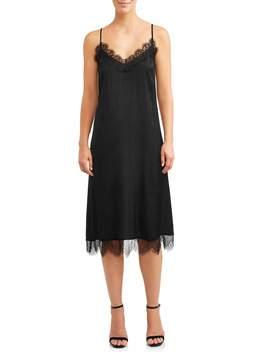 Women's Midi Slip Dress With Lace Trim by Love Sadie