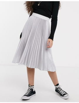 Outrageous Fortune Petite Pleated Midi Skirt With Contrast Waistband In Silver by Outrageous Fortune's