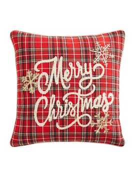 Tartan Plaid Merry Christmas Pillow by Pier1 Imports
