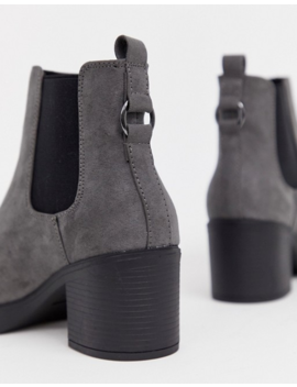 New Look Wide Fit Chunky Chelsea Heeled Boot In Gray by New Look