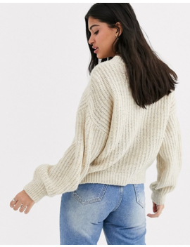 New Look Recycled Yarn Balloon Sleeve Jumper In Oatmeal by New Look