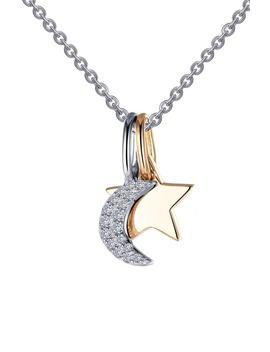 Star & Moon Pendant Necklace by Lafonn