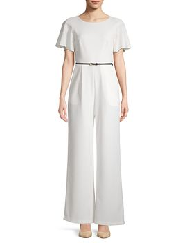 Wide Leg Belted Jumpsuit by Calvin Klein