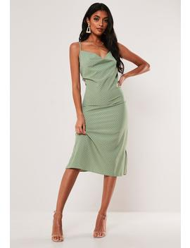 Green Polka Dot Cowl Neck Cami Slip Midi Dress by Missguided