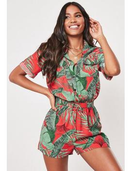 Red Tropical Print Shirt Playsuit by Missguided