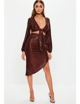 Red Snake Print Side Ruched Co Ord Midi Skirt by Missguided