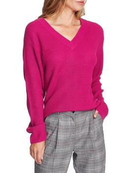 Ribbed V Neck Sweater by Vince Camuto