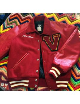Vintage Rare Red High School Varsity Letterman Jacket Small by Vintage Red