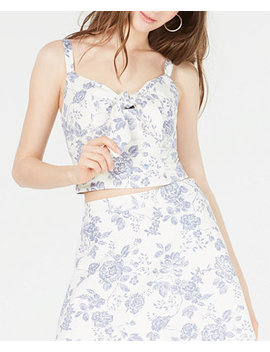 Juniors' Printed Sweetheart Neck Cropped Top by General
