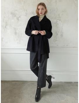 Handmade Belted Half Coat   Dark Navy by Le