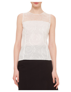 Floral Lace Sleeveless Blouse by Akris
