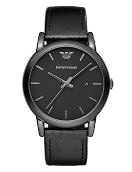 Men's Black Leather Strap Watch 41mm Ar1732 by General