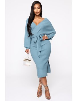 Mona Sweater Midi Dress   Dusty Blue by Fashion Nova