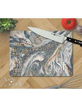Ocean Marble Personalized Glass Cutting Board   Monogrammed Blue And Gray Kitchen Decor   Wedding Or New Home Gift   Rectangular Or Round by Etsy