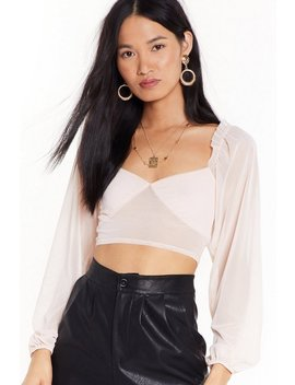 Crop Top En Mesh à Manches Bouffantes Tu Prends De La Place by Nasty Gal